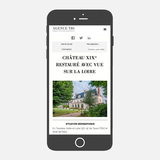 Agence TBI site web mobile - eszett studio