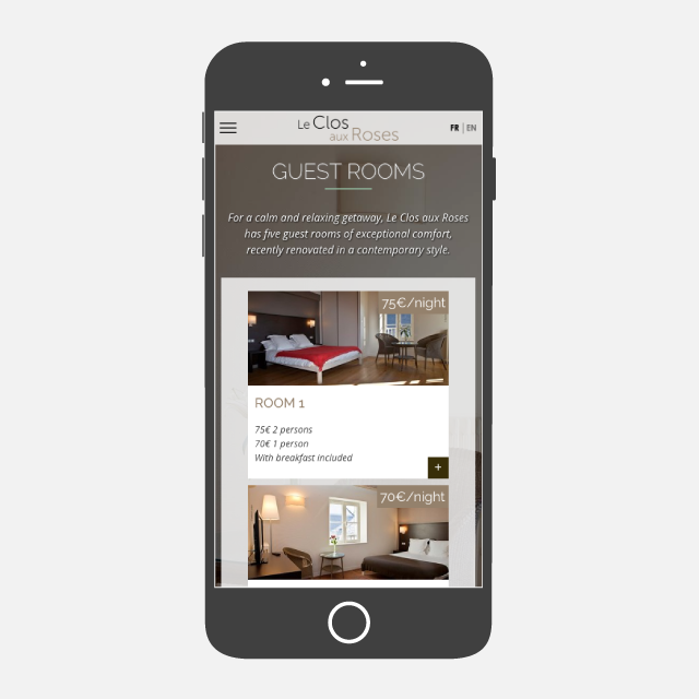 Le Clos aux Rose site web mobile - eszett studio