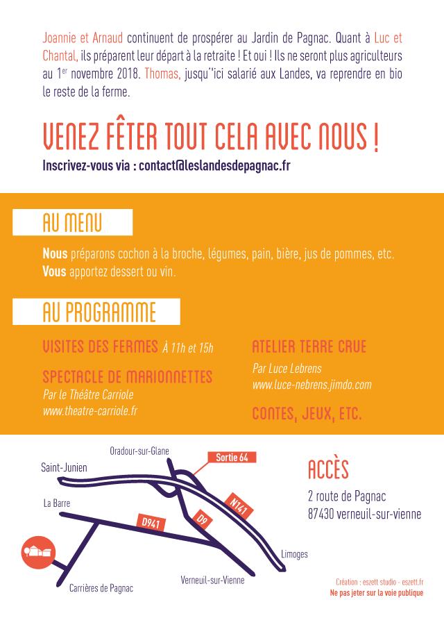 Verso flyer pique-nique à Pagnac - eszett studio