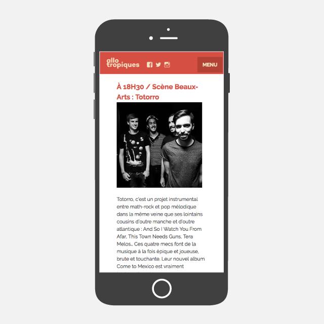 Festival Allotropiques site web mobile - eszett studio