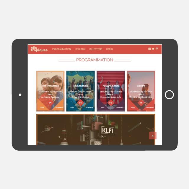 Festival Allotropiques site web tablette - eszett studio