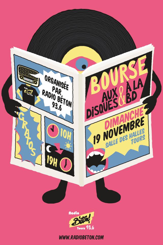 Radio béton affiche bourse aux disques & BD - eszett studio