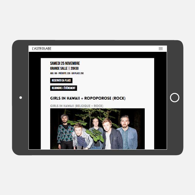 L'Astrolabe site web tablette - eszett studio
