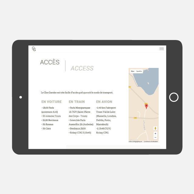 Le Clos Garnier site web tablette - eszett studio