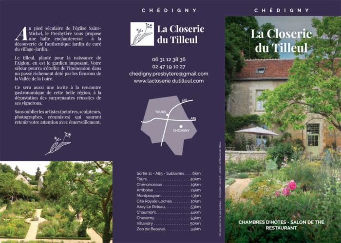 Recto dépliant 3 volets Closerie du Tilleul Chedigny - eszett studio
