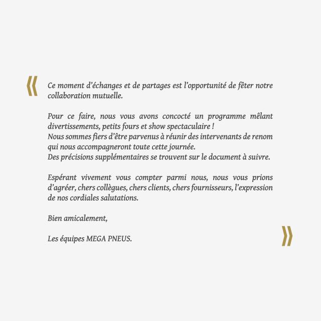 Invitation 30 ans Méga Pneus - eszett studio